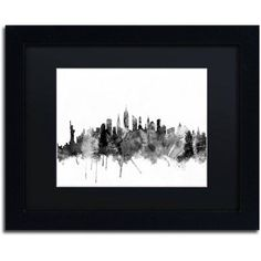 Trademark Fine Art New York City Skyline B Canvas Art by Michael Tompsett, Black Matte, Black Frame, Size: 16 x 20, Gray