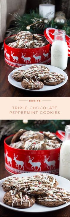 Decadent Triple Chocolate Peppermint Cookies that kids, adults, and Santa will love! These are the perfect Christmas cookies. Quick Easy Desserts, Just Desserts, Sweets Recipes, Holiday Treats, Holiday Recipes, Christmas Treats, Christmas Recipes, Merry Christmas, Christmas Cookies