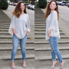 LAST LARGE Gray Crochet Poncho Blouse AVAILABLE in SMALL & LARGE  •Poncho Style Blouse w/ arm holes •White Crochet trim detail •96% Polyester 4% Spandex -Modeling size Small.   Hello! I'm Monika. I'm a Boutique Owner & an Entrepreneur Mentor. Welcome to my closet!   Let's keep in touch  Instagram: @monikarosesf  YouTube: MonikaRoseSF  Blog: www.MonikaRoseSF(dot)com Monika Rose SF Tops Blouses