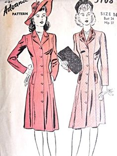 1940s Flattering Coat Pattern Advance 3108 Beautifully Fitted Coat Bust 34 Vintage Sewing Pattern FACTORY FOLDED