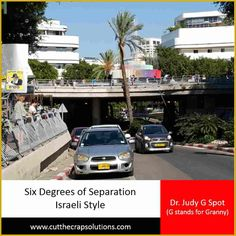 """Six Degrees of Separation - Israeli Style  Originally set out by Frigyes Karinthy in 1929, """"Six Degrees of Separation"""" is the theory that everyone is connected to every other person in the world in a maximum of six steps/connections, creating a """"small small world"""".  Today I'm sharing with you the Israeli version.  READ MORE: http://judyyaron2.wix.com/grannyalwayssays#!Six-Degrees-of-Separation-Israeli-Style/c1l60/5650c4b40cf26ffe7c20c75c  HUGS <3 #ultrablog  #israel  #thatswhatgran"""