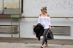 Blogger modelovers, off shoulder shirt by ZARA, boots by Acne Studios, Mini Luggage Celine bag and Celine sunglasses