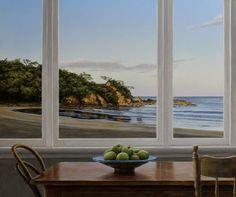 Seaside Window by NZ artist Neil Driver Window View, Open Window, Landscape Art, Landscape Paintings, Landscapes, New Zealand Art, Nz Art, Kiwiana, Indigenous Art