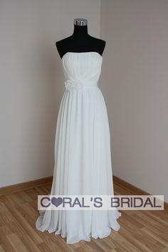 wd10400(f) Greece empire chiffon beach wedding dress - Coral's Bridal