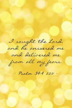 Psalm 34:4 I sought the Lord, and he answered me and delivered me from all my fears.