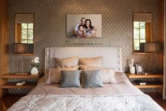 bedroom portrait wall display. family photography, family photos, home decor. Photography by: Jade Read Photography
