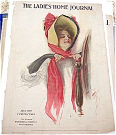 $75 July 1907 Lady in red bow bonnet Harrison Fisher Ladies Home Journal Magazine Cover, Art Print, Edwardian, Victorian, Fashion Hats