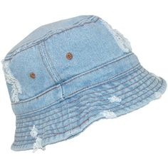 David   Young Denim Jean Distressed Sun Bucket Hat ( 12) ❤ liked on Polyvore  featuring accessories bf6ba825e020