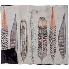 So beautiful! feathers scarf: linen  Embroidery on 100% linen/ 100% silk backing.