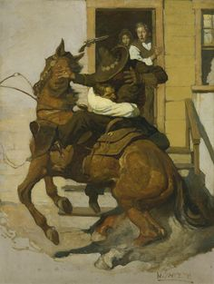 """N.C. WYETH  Sir Henry and Greaser   Oil on Canvas  40"""" x 30.25"""""""