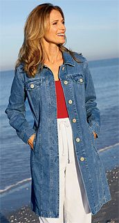 Long Denim Coats for Women | to waste old slim was thin