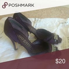 Satin open toe heels Pre-loved purple heels open toe. Jeweled. Side opening. Silver cubic accents. Satin fabric. From Pedro Garcia. Spain brand kate spade Shoes Heels