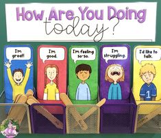 """Support your students' mental health with this FREE """"How Are You Doing Today?"""" check-in station! Primary Classroom Displays, Classroom Display Boards, Classroom Organisation, Kindergarten Classroom, Classroom Ideas, Social Emotional Development, Social Emotional Learning, Classroom Behavior Management, Teaching Activities"""