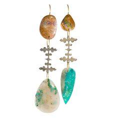Jessica Winzelberg - Baba Boulder Opal, Chrysocolla and Smithsonite Double Stone Drop Earrings