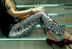 Sequin pants + burgundy heels, The Blonde Salad
