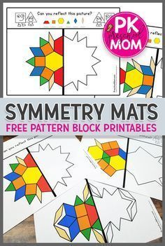 Free Symmetry Printables Free Hands-On Math Printables for learning symmetry Students LOVE these symmetry pattern block printables great for preschool math learning centers via prekmoms Math Art, Fun Math, Math Games, Preschool Activities, Symmetry Activities, Free Printables For Preschool, Preschool Learning Centers, Learning Centers Kindergarten, Symmetry Math
