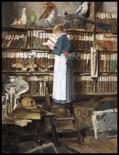 Clean the books or read the books? I know what my choice always is! via Content in a Cottage Artist: Édouard John Mentha (also Menta) 1858 Genève 1915