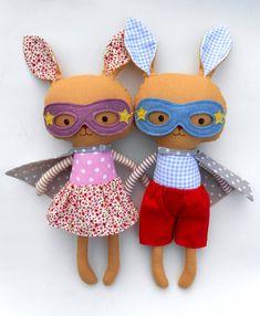 ***Listing is for two bunnies!**** Superhero bunnies by La Loba Studio #bunny #plush #plushie #rabbit #easter #kids #fabricdoll