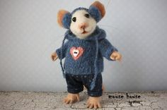 Mouse in Jeans Needle Felted Mouse Soft by MouseHousebyAlina