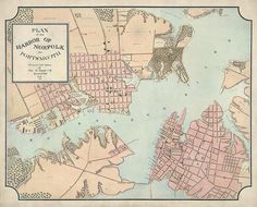 Antique map of Norfolk and Portsmouth, Virginia, from 1861