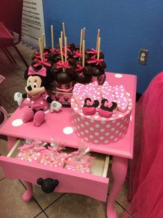Minnie  Mouse girl birthday party decorations and treats! See more party planning ideas at CatchMyParty.com!