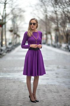 For your next fall wedding, try a fit & flare with long sleeves in a bright jewel tone. Add a belt for more definition.