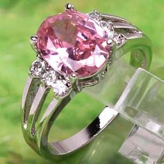 'size 7  Pink & White Topaz  Silver Ring' is going up for auction at 10pm Tue, Aug 28 with a starting bid of $5.
