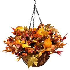 """Improvements Autumn Harvest Hanging Basket-18"""" (£57) ❤ liked on Polyvore featuring home, home decor, autumn, artificial flowers, thanksgiving decorations, swag, harvest, hanging basket, garland and fall decor"""