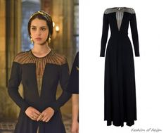 In the seventeenth episode Mary wears this sold out Temperley London Long Crystal Stud Dress in black. Worn with Jennifer Behr headband and ...