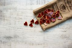 Red heart cookies like rustic wedding favors heart magnets cottage chic guest favors shabby chic bridal shower red mustard brown marsala