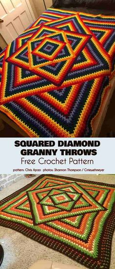 Squared Diamond Granny Throw Free Crochet Pattern patterns blanket unique Kaleidoscope Granny Throw Best Ideas and Free Pattern blanket patterns granny square Crochet Throw Pattern, Granny Square Crochet Pattern, Afghan Crochet Patterns, Rug Patterns, Crochet Blankets, Crochet Afghans, Doilies Crochet, Baby Afghans, Motifs Granny Square