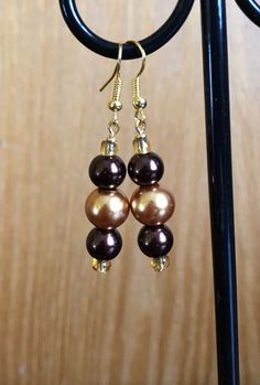 Brown and Gold Beaded Drop Earrings, Brown Gold beaded earrings, Brown Gold Drop earrings, Brown bead Earrings, Gold Brown earrings by ElegantByJanessa on Etsy