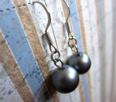Large Dark Grey Pearl Earrings by WistfulWhimsyDesigns on Etsy, $1.80