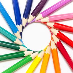 Rainbow pencils - Colorful pencils arranged in a spiral.