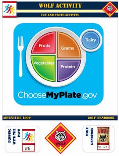 Wolf Cub Scout Cut and Paste activity- Running with the Pack, Myplate