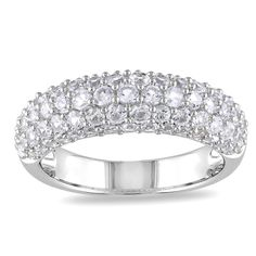 Round-cut created white sapphires stone ringSterling silver jewelryClick here for ring sizing guide