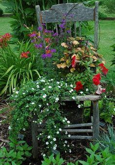 lovely # shabby #chair in the #garden