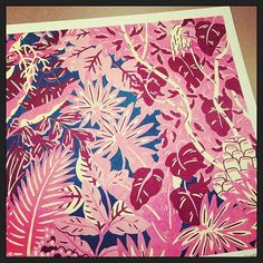 BIG thank you to for sending us one of his stunning Jungle prints! (at Wrap studio) Textile Pattern Design, Textile Patterns, Pattern Art, Textiles, Textile Prints, Silk Screen Printing, Printing On Fabric, Cool Patterns, Print Patterns