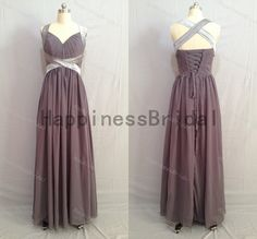 Grey chiffon dress with satin,long prom dress,evening dress,fashion bridesmaid dress,chiffon prom dress,formal evening dress 2014