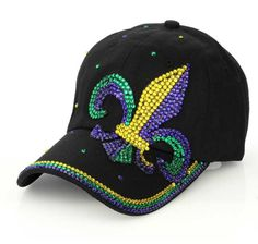 Shop Women's size OS Hats at a discounted price at Poshmark. Mardi Gras Hats, Bling, Green And Gold, Baseball Hats, Purple, Rhinestones, Cotton, Fashion, Flower