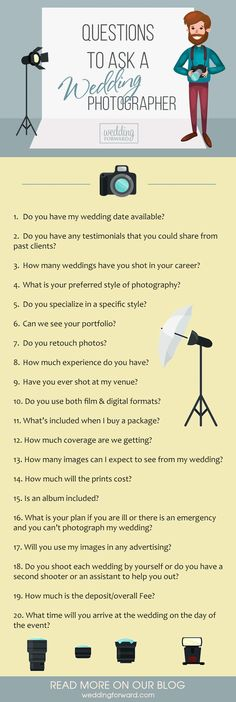 Questions To Ask Potential Wedding Photographer ❤️ Aside from your personal comfort with a specific photographer, you should also ask some pertinent questions to make your final choice. See more: http://www.weddingforward.com/questions-ask-potential-wedding-photographer/ #wedding #photographer #questions