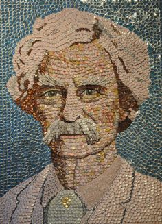 Mark Twain by Molly B. Right In honor of Mark Twain's birthday today, we found a great portrait of him made out of bottle caps. Beer Cap Art, Beer Bottle Caps, Bottle Cap Art, Beer Bottles, Bottle Cap Projects, Bottle Cap Crafts, Mosaic Portrait, Portrait Art, Diy Cork