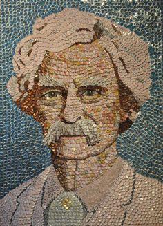 "Mark Twain Bottle Cap Portrait, 42"" x 60""  BOTTLE CAP ART      http://Babykettlebell.com"