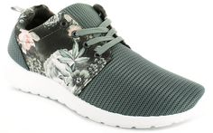 4a8e5a2d0010 Lace up fashion trainers with mesh and scuba style fabric panels. Floral  print to upper