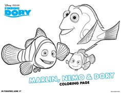 Finding Dory Coloring and Activity Pages, a Disney Pixar Movie.