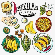 La comida mexicana ilustración, Pancake Roll, La Comida Mexicana, Agave Imagen PNG