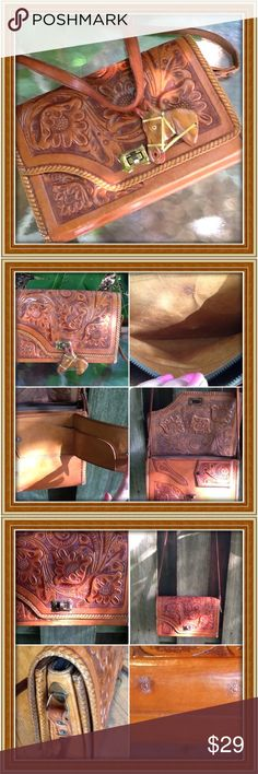 Vintage leather purse Vintage tooled leather purse hand carved; made in Mexico; label Gaitan; good vintage condition; strap long enough to wear as crossbody; there is some separation of the leather on the strap; easily repaired or left as is; 10.5 inches across; 8 inch height; 2.5 inch wide Vintage Bags Shoulder Bags