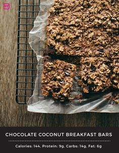 Chocolate Coconut Breakfast Bars  1 ½ cups old fashioned oats ½ cup unsweetened shredded coconut 2 scoops Chocolate Coconut IdealLean Protein ¾ cup unsweetened almond milk 4 egg whites ¼ tsp salt 1 tsp vanilla extract ¼ cup dark chocolate chips  1. Preheat oven to 350 degrees F. Mix all ingredients together and press down into a 9x9 baking pan and bake for 20 minutes. Let cool, cut into 9 bars, & enjoy!   Makes 9 servings. Serving size: 1 bar.