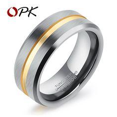 Men's 18K Yellow Gold Tungsten Carbide and Grey Wedding Band