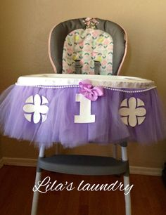 Sofia The First Highchair Tutu Decoration -- FREE SHIPPING by LilasLaundry on Etsy